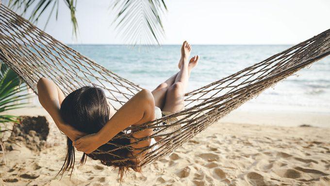 SculpSure, woman in hammock