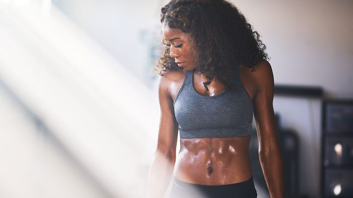 How to get abs, woman with abs