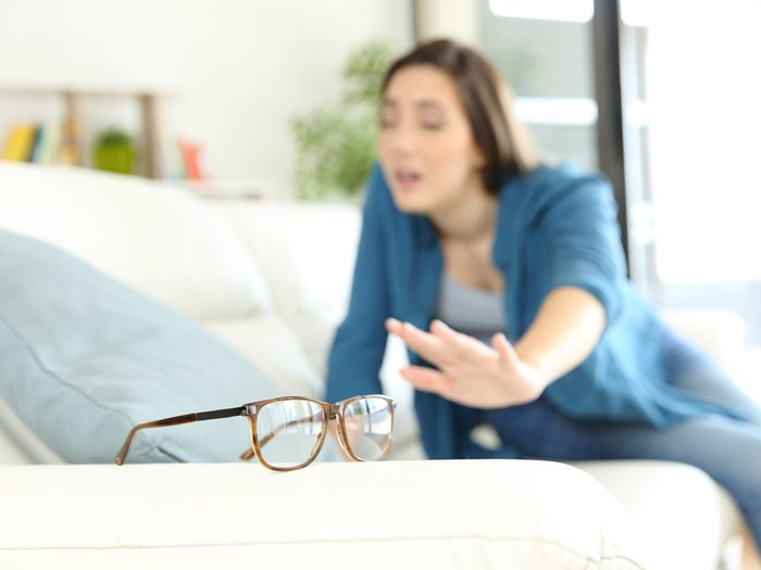 woman searching for her glasses, eye health