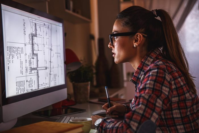 woman work late night computer