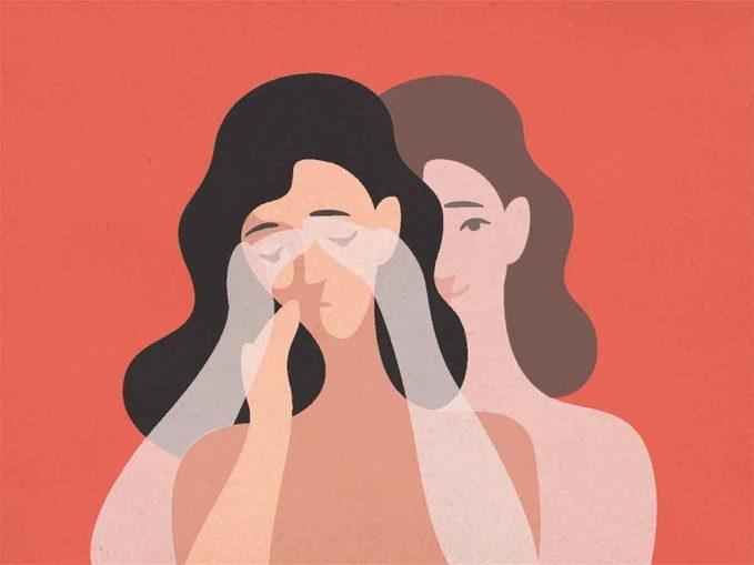 illustration of anxious woman