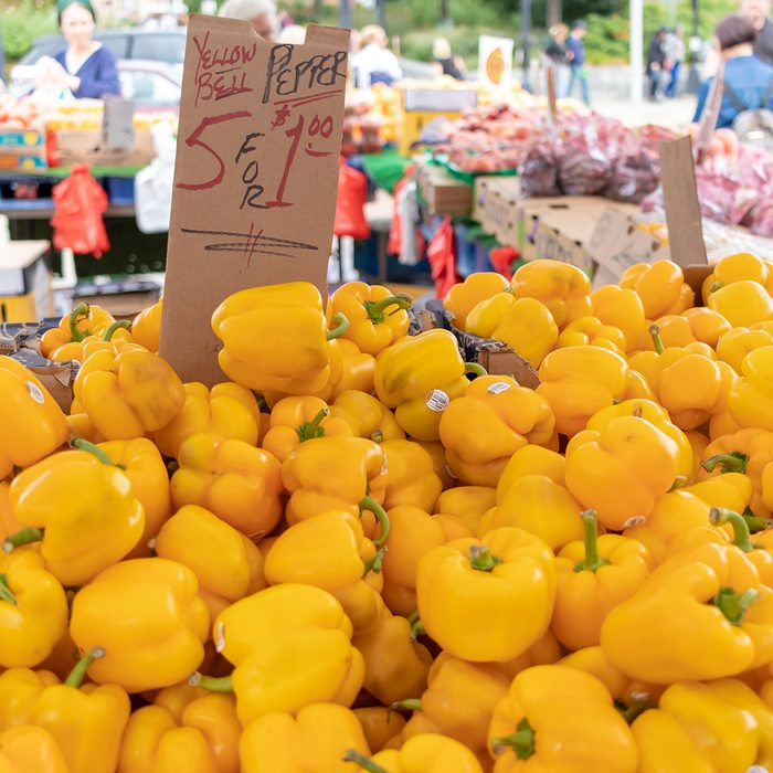 yellow bell peppers for sale at an outdoor farmer's market; Shutterstock ID 1175188264; Job (TFH, TOH, RD, BNB, CWM, CM): TOH