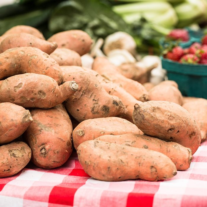 Sweet potato yams at the farmers market in Knoxville Tennessee; Shutterstock ID 645123172; Job (TFH, TOH, RD, BNB, CWM, CM): TOH