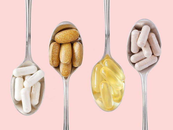 vitamins on spoons