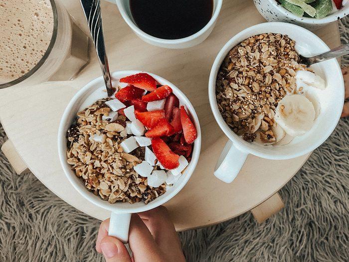 fruit, yogurt and oats