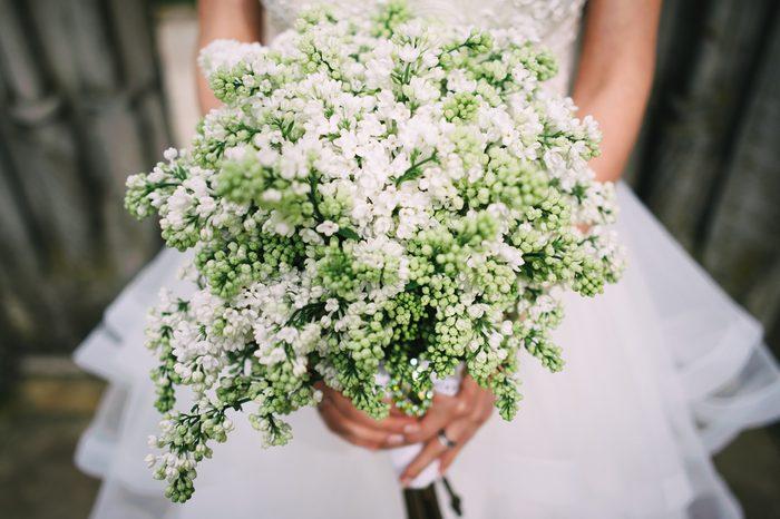 Bride holding white lilac wedding bouquet; Lilac wedding bouquet