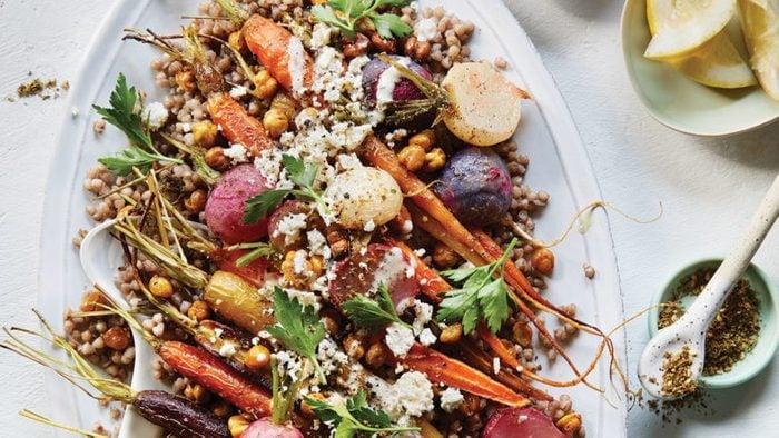 roasted carrot radish salad with crispy chickpeas