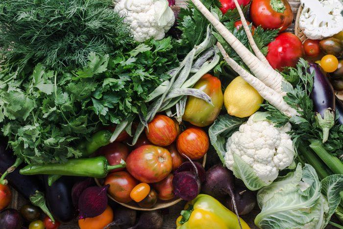 mediterranean diet | colorful variety, plant based food, homegrown crop