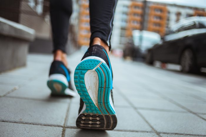 mediterranean diet | Close up shot of runner's shoes