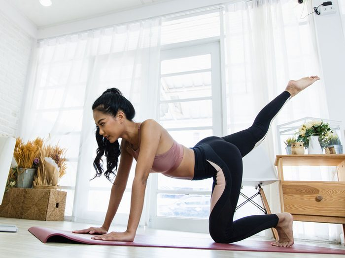 at-home circuit   woman working out at home