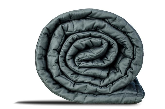 weighted blanked   gravid's weighted blanket rolled up   can a weighted blanket help with anxiety?