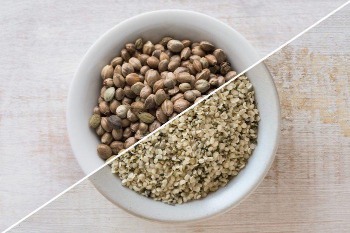 hemp hearts vs hemp seeds | split image of hemp hearts and hemp seeds in bowl | hemp hearts hemp seeds