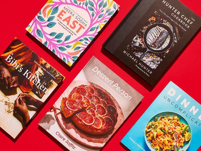 new cookbooks canada   flat lay of holiday cookbooks