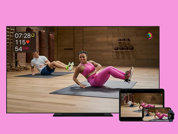 apple fitness+ review | view of fitness+ on apple tv, ipad, iphone, and apple watch