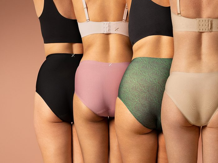 period underwear review   four women standing side by side in knix's period proof underwear