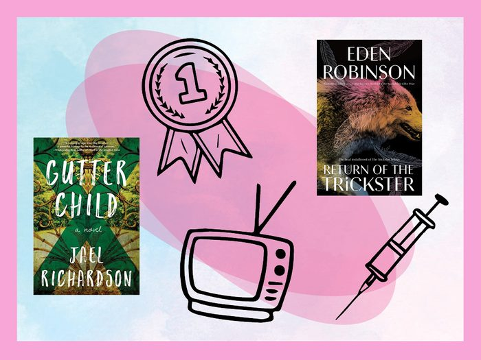 book covers, a medal, tv, and needle against a colourful background | what to look forward to in 2021