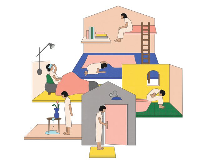 perimenopause | illustration of a house with women inside representing various symptoms of perimenopause