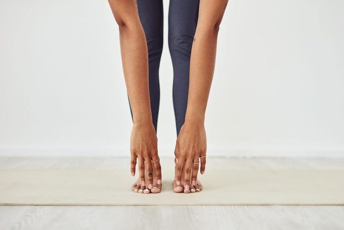 types of stretching   closeup of woman touching her toes