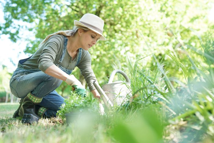 how to start a vegetable garden | Blond,woman,with,hat,gardening