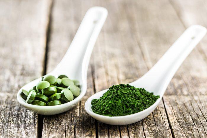 Green Chlorella Pills Or Green Barley Pills And Powder