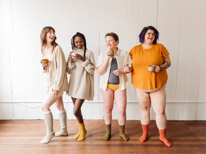 eco-friendly menstrual products   image of 4 people wearing joni pads