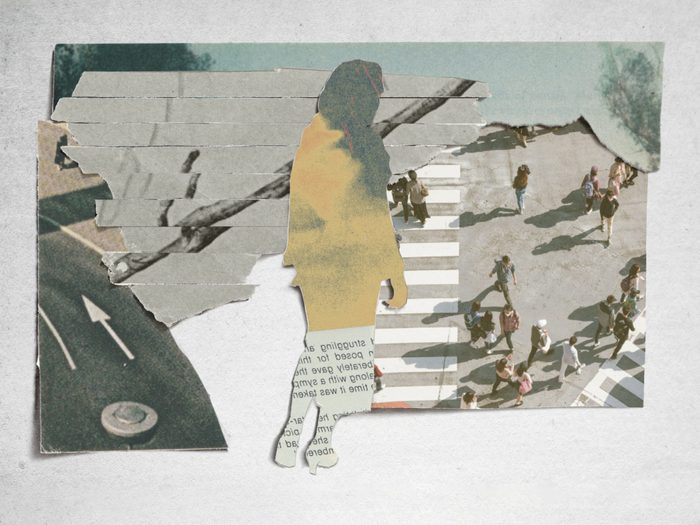 post-pandemic emotional recovery   collage of a silhouette walking layered over images of groups of people