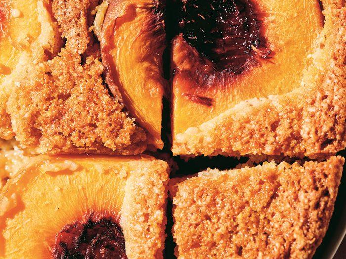peach cake recipe | close up image of polenta peach cake recipe